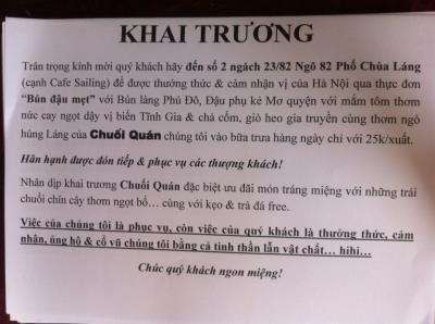 Khuyến mãi khai trương quán bún đậu mắm tôm tại phố Chùa Láng