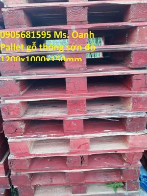 Xả lô pallet gỗ thông đã sơn màu đỏ giá rẻ Quảng Nam - Đà Nẵng 0905681595