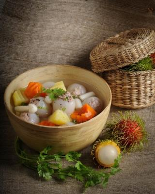 Drooling with rambutan put meat soup, super delicious, super sweet sound
